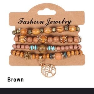 Jewelry - Beaded wooded bracelets and Cooper earrings